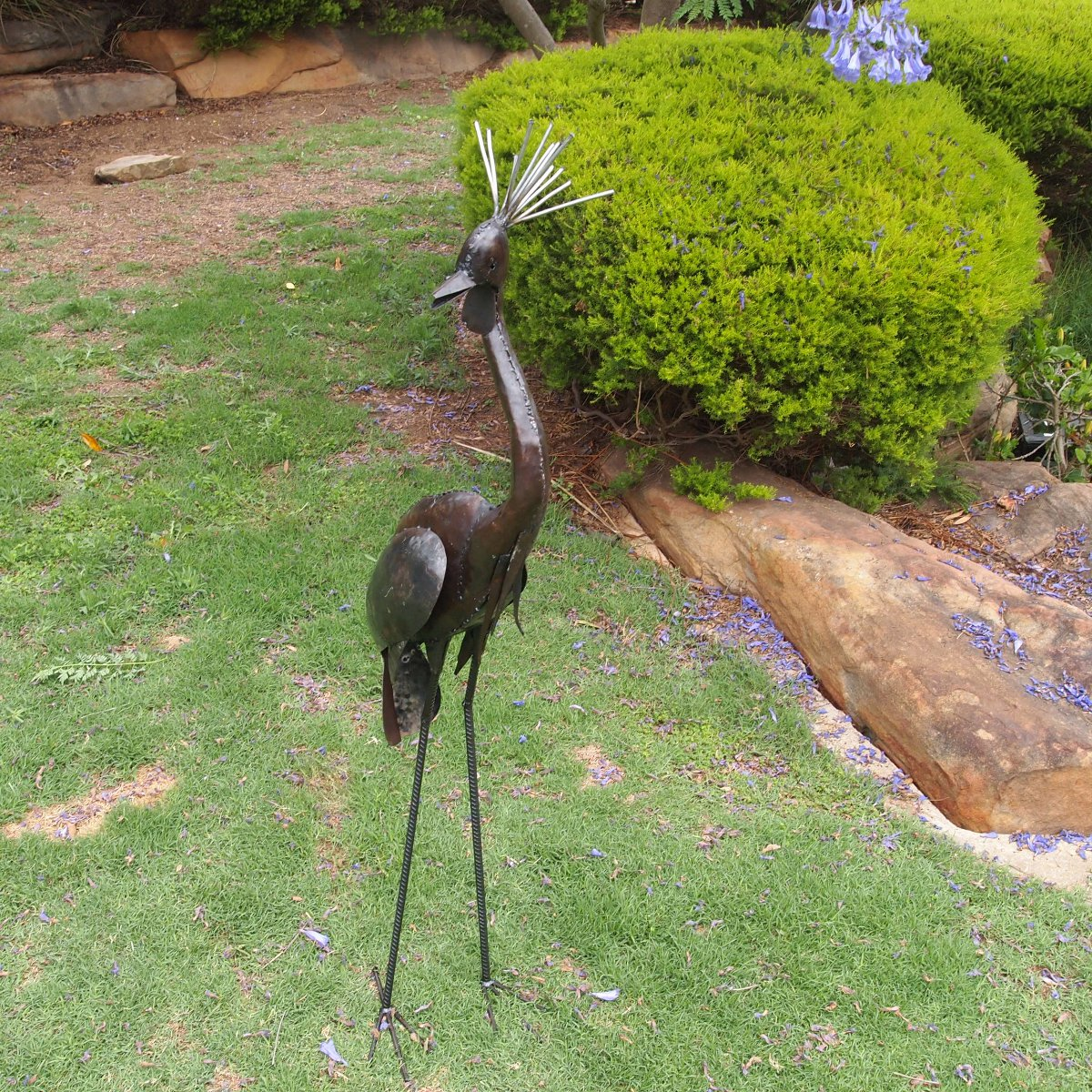 crown crane metal garden animals - Garden Animals
