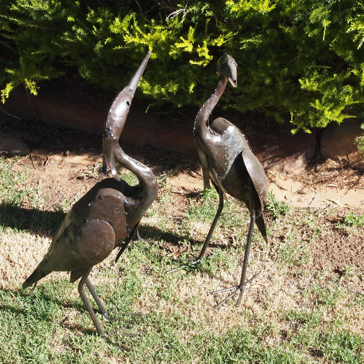 garden sculpture. Egret Metal Garden Sculpture