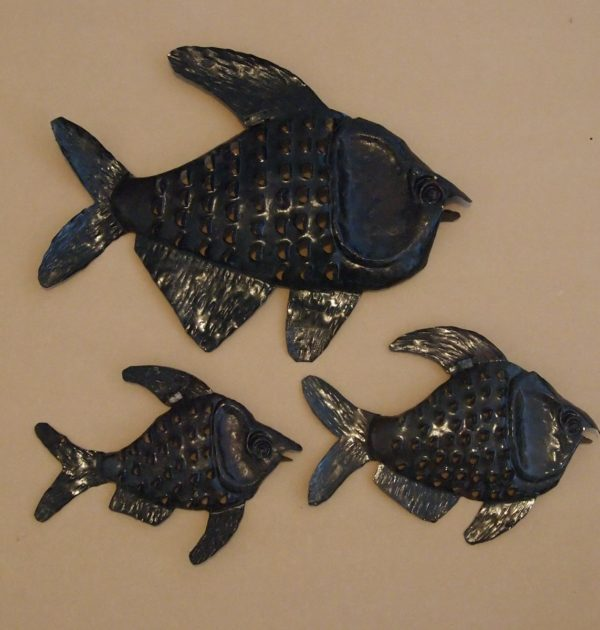Fish manufactured by recycled metal