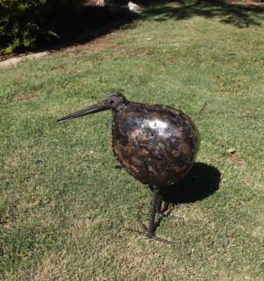 The Kiwi's are handcrafted with recycled materials to make superb garden sculptures