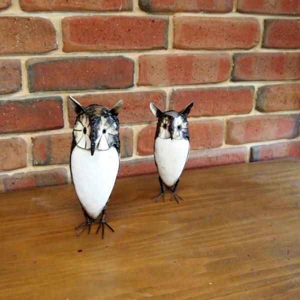 White Owl Metal Garden Art