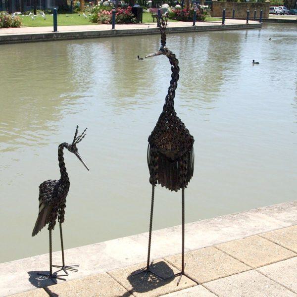 Twisted Crown Crane metal garden ornaments