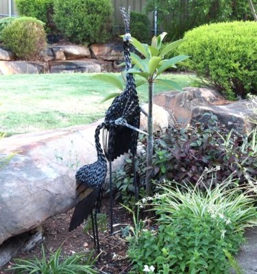 Twisted Crown Crane metal garden ornaments